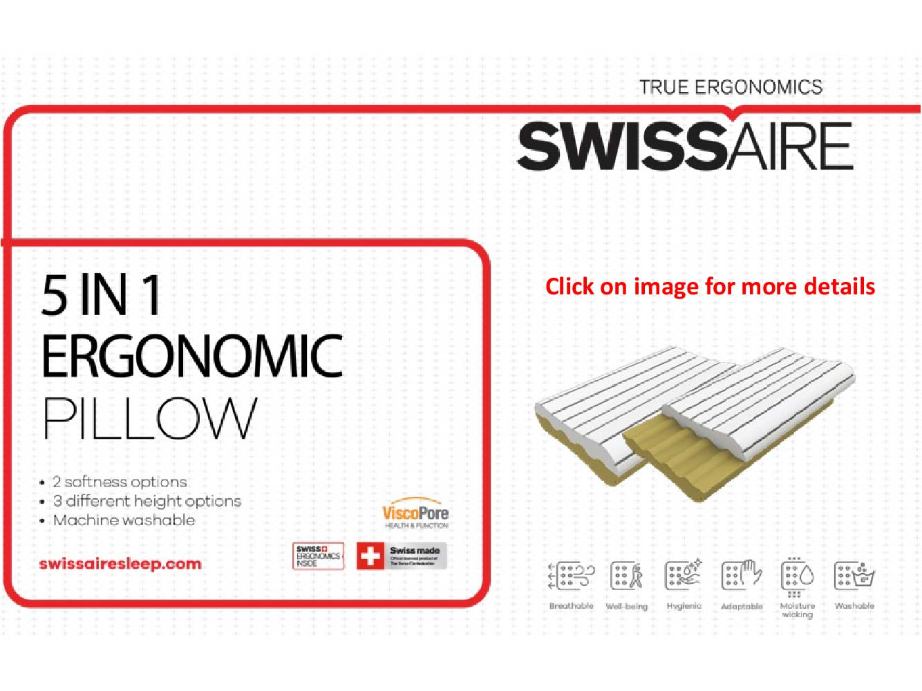 Swissaire True Ergonomics - 5 in 1 ergonomic pillow