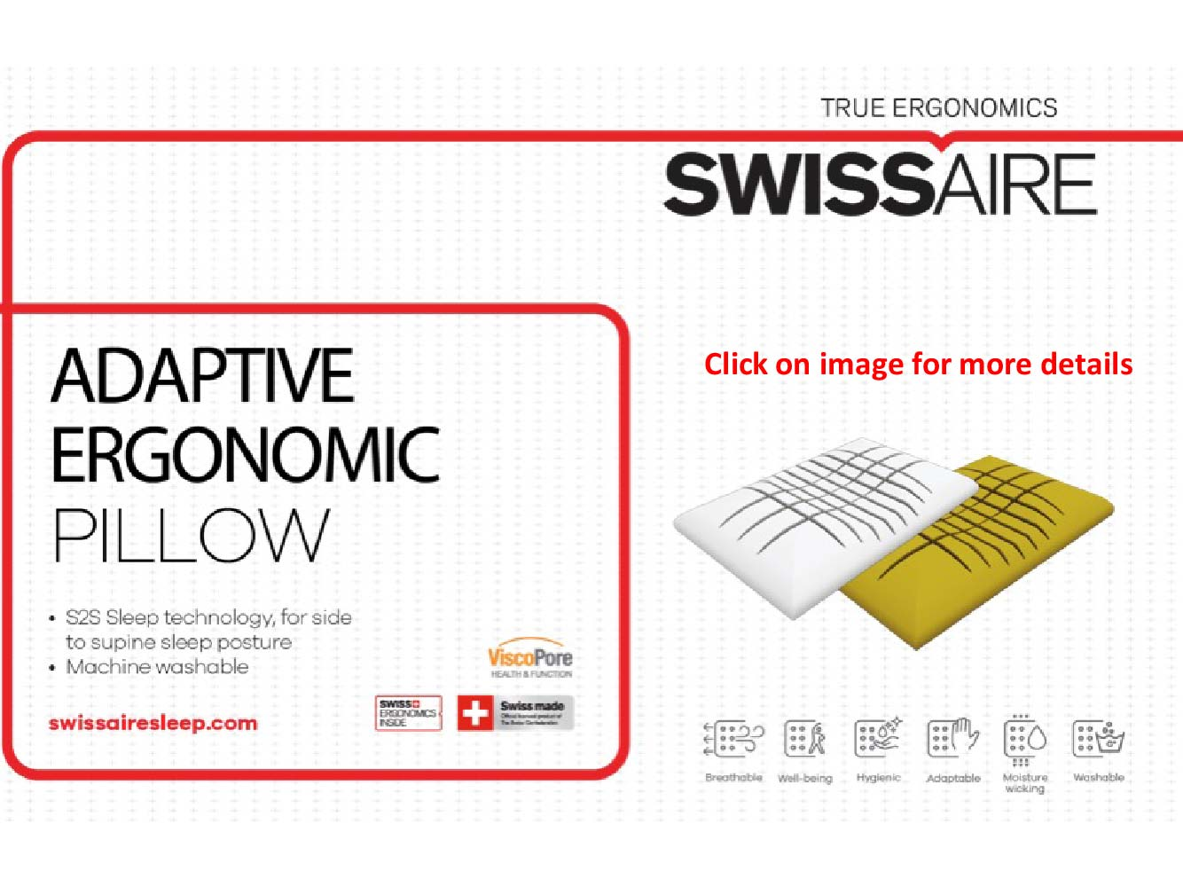 Swissaire True Ergonomics Adaptive Ergonomic Pillow